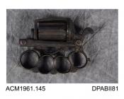 Revolver, knuckleduster pinfire pistol, Dolne patent, with bayonet, carried by a Mr Edwards, a ship's doctor, in lawless neighbourhoods in the 1900s, made in Belgium, about 1880