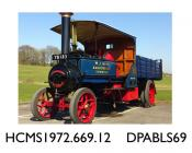 Lorry, steam lorry, Little Giant, Vehicle Registration No: YB 183, 2 speed chain driven compound steam wagon, 5hp, chassis, wheels and boiler red, body and side panels blue with broad black lines, 'J King, Bagborough, Somerset' in gold lettering,  solid