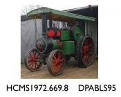 Engine, traction engine,The Little Giant, Vehicle Registration No: AP 9027, Class C Compound Road Locomotive, body and boiler painted green with yellow line, flywheel rim black with red line, wheels red with yellow line, 'Frank Duke Builder and Contract