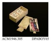 Dominoes, set in bone box with sliding lid, made by French prisoners