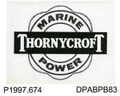 Photograph, black and white, showing a Thornycroft marine logo badge