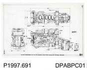 Photograph, black and white, showing an engineering drawing of the outline arrangement of T1100 with internal fresh water cooling and B type gear, built by Thornycroft, Worting Road, Basingstoke, Hampshire