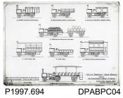 Photograph, black and white, showing an engineering drawing of eight different A, B, C, D type steam vehicles, Thornycroft, Worting Road, Basingstoke, Hampshire