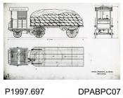 Photograph, black and white, showing an engineering drawing of the general arrangement of a trailer, built by Thornycroft, Worting Road, Basingstoke, Hampshire