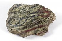Rock, serpentine, hand specimen of serpentine with one weathered and one polished surface