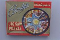 Jigsaw puzzle, card, Seven Wonders of the Ancient World, found at The Danes, Wote Street, Basingstoke, Hampshire, made by Waddingtons, Kirkstall, Leeds, West Yorkshire, mid 20th century. The seven wonders are all in the 'ancient world' around the Medite
