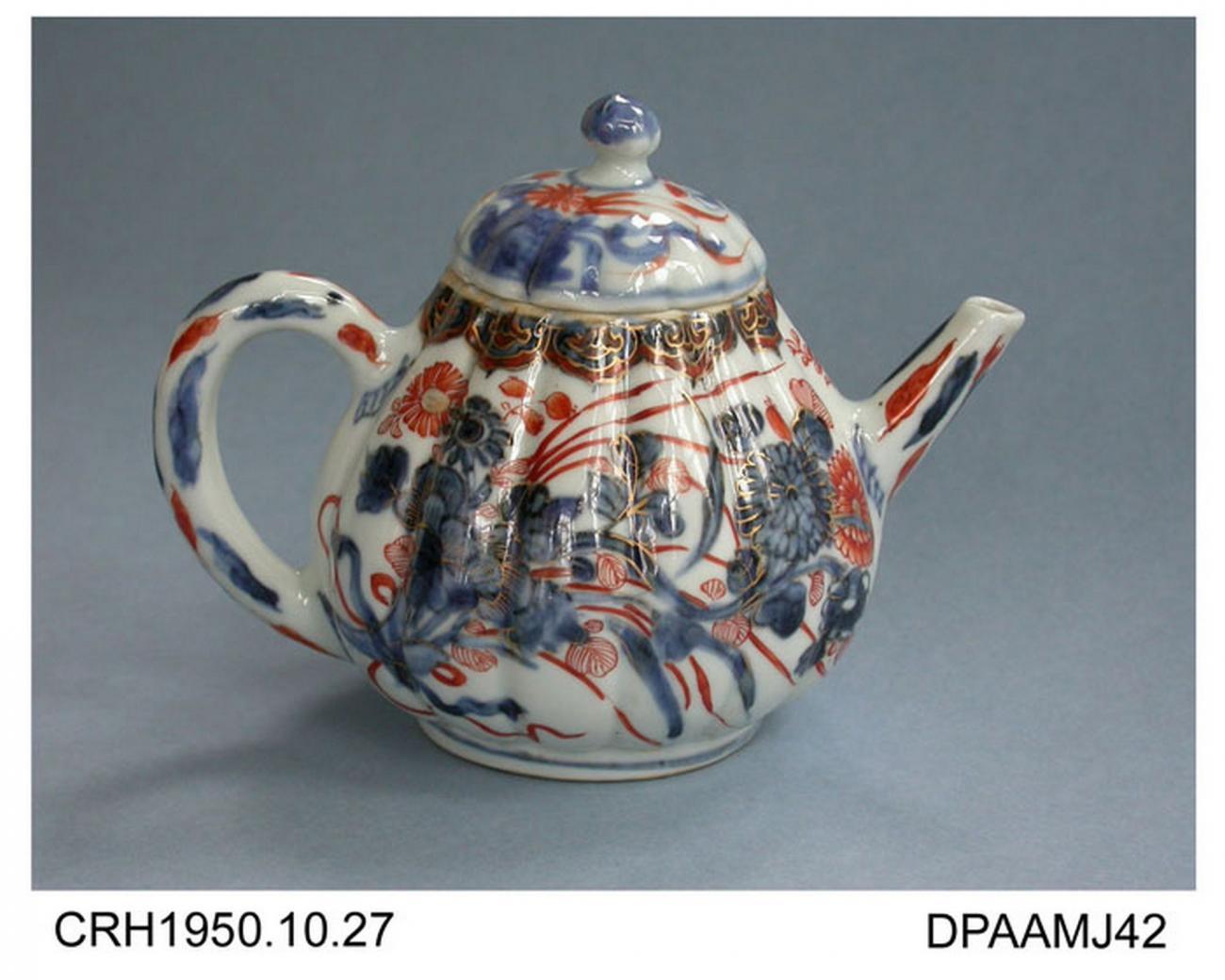 Teapot, hard paste porcelain, fluted pear shape, on high foot ring