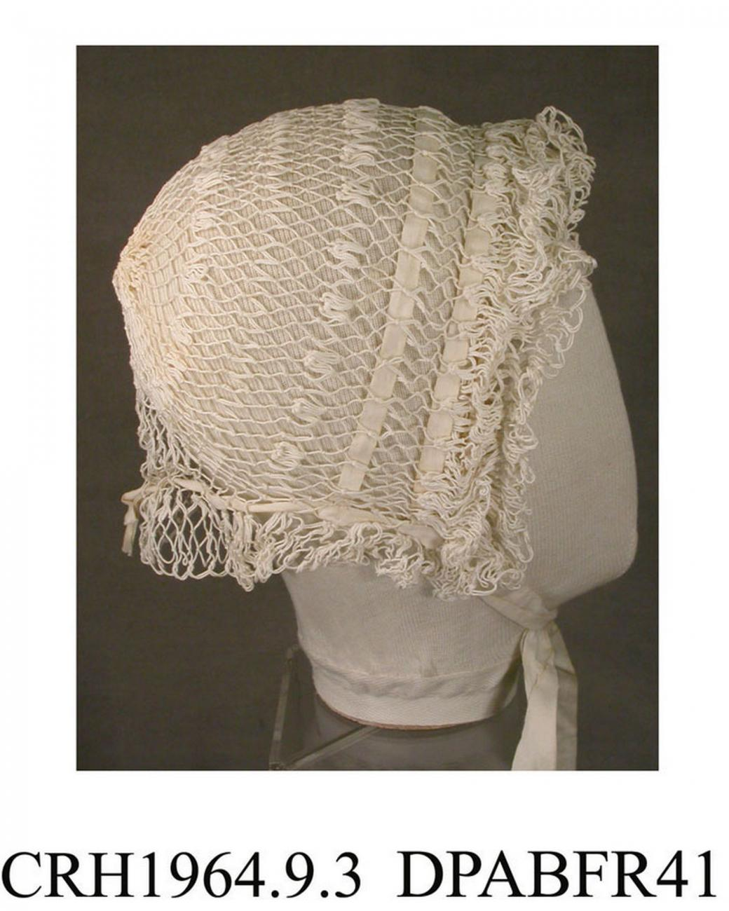 Night cap, cap, white cotton, hairpin crochet, two rows of