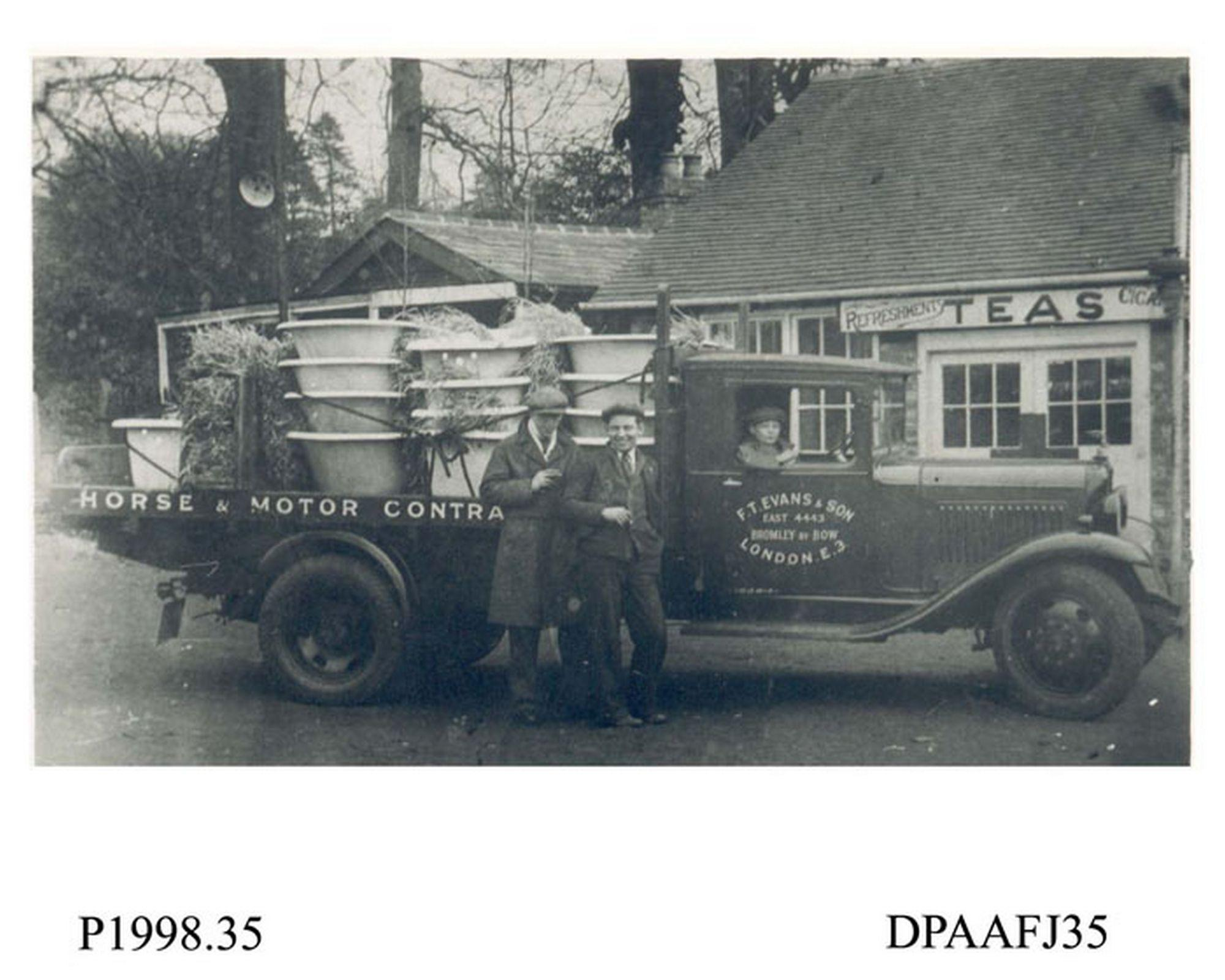 Photograph, black and white, showing a Bedford lorry with ...