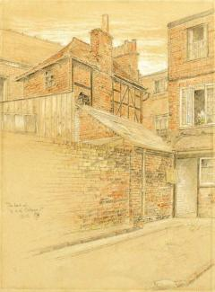 Pencil and crayon drawing. 'The Back of 13 and 14 College Street' by C.B. Phillips. 1916.