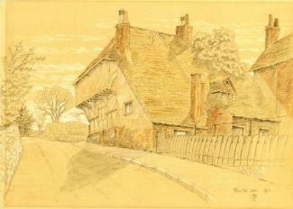 Pencil and crayon drawing. 'Blue Ball Lane' by C.B. Phillips. 1911.