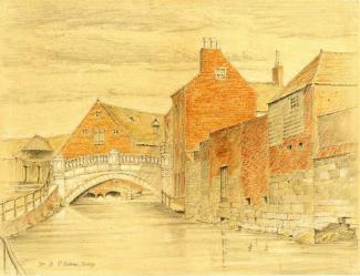 Pencil and crayon drawing. 'St. Swithun's Bridge' by C.B. Phillips. 1902.