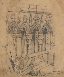 Drawing, pencil drawing, stonework in a church, Andover? Hampshire, by RT, 1847.