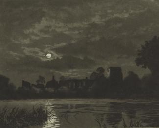Print, lithograph, moonlight view of the Bishop's Palace, Bishops Waltham, Hampshire, by Joseph Kirkpatrick.
