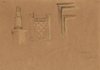 Sketch, pen and ink sketches of details, innsign, chimney pot, door, of The Chequers Inn, Fareham, Hampshire, 29 February 1948.