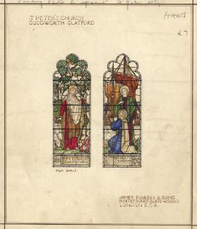 Design, watercolour, stained glass window in St Peter's Church, Goodworth Clatford, Hampshire, by James Powell and Sons, Whitefriars Glass Works, London, about 1919?
