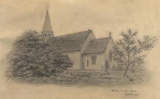 Drawing, pencil drawing, Hartley Maudit Church, Hartley Maudit, Worldham, Hampshire, by AW, 20 July 1873.