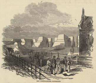 Print, engraving, New Fortifications, Portsmouth, Hampshire, published in the Illustrated London News, 4 July 1846.
