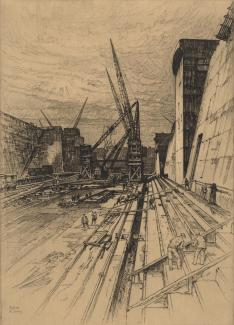 Print, etching, construction of the King George V Graving Dock, Southampton, Hampshire, by Sydney R Jones, 1932, one of three etchings presented to King George V when he opened the dock.