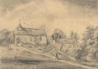 Drawing, pencil drawing, church and rectory, Shalden, Hampshire, mid 19th century.