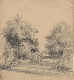 Drawing, pencil drawing, garden view at house in Oakley, Hampshire, 1849.