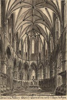 Drawing, pen and wash, putative apse inside Beaulieu Abbey, Beaulieu, New Forest, Hampshire, by A E Henderson, 1947.