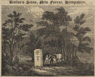 Title page, The Mirror of Literature, Amusement, and Instruction, issue 209, Saturday, 12 August 1826. With a print, an engraving, of the Rufus Stone in the New Forest, Minstead, Hampshire, drawn by Sears; and descriptive text continued on the reverse.