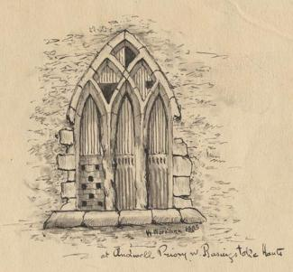 Drawing, pen drawing with ink wash, window at Andwell Priory, Mapledurwell and Up Nately, Hampshire, by Windover Workman, 1883.