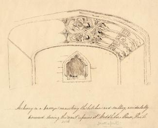 Drawing, pen drawing, doorway and piscina, Mottisfont Priory or House, Mottisfont, Hampshire, abut 1836.