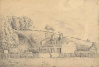 Drawing, pencil drawing, Orps Mill Cottages before the railway came, Alton area? Hampshire, before 1865. The Mid Hants, Alton Lines, Railway opened 1865.