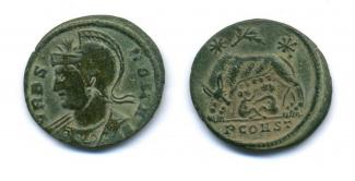 Coin, Roman, ae3, bronze, found at Holbury Wood, East Tytherley, Hampshire, issued by Constantine I, at Arles, France, 306 to 337.
