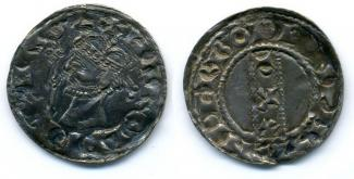 Coin, Anglo-Saxon, silver, issued by Harold II, moneyer, Anderbode, at Winchester, Hampshire, 1066.