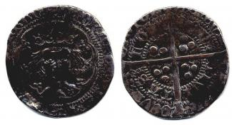 Coin, English, silver, found at Winchester, Hampshire, issued by Henry IV, at London, 1399 to 1413.