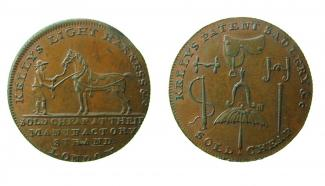 Token, copper alloy, issued by Kelly's, at London, 1700 to 1799.