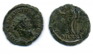 Coin, Roman, bronze, issued by Carausius, at London, 286 to 293.