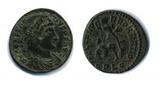 Coin, Roman, bronze, issued by Constantius II, 323 to 361.