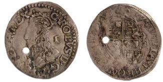 Coin, silver, issued by Charles I, at Tower of London, London, 1625 to 1649.