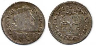 Coin, silver, issued by Charles II, 1679.
