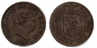 Coin, silver, issued by George III, 1817.