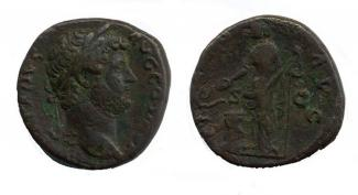 Coin, Roman, bronze, issued by Hadrian, 117 to 138.