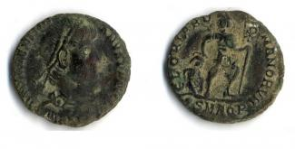Coin, Roman, bronze, excavated at Lankhills School, Winchester, Hampshire, issued by Valentinian I, 364 to 375.