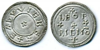 Coin, Anglo-Saxon, excavated at Winchester, Hampshire, issued by Eadwig, moneyer, Leofric, at Winchester, Hampshire, 955 to 959.
