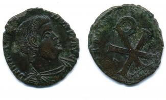 Coin, Roman, bronze, issued by Magnentius, 350 to 353.