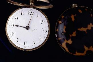Pocket watch, tortoise-shell pair case, from Martha Day, clockmaker, Olney, Buckinghamshire 1828