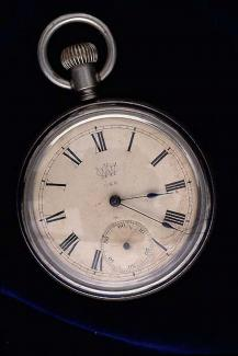 Watch, nickel plated case, made by Waterbury Watch Co, Waterbury, Connecticut, United States c1890
