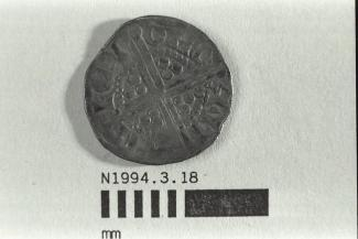 Coin, penny, part of a hoard found at White Lane, Greywell, Mapledurwell and Up Nately in 1989, issued by Henry III, minted by moneyer Willem at Canterbury, Kent, 1251-1272