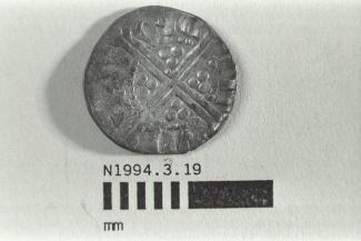 Coin, penny, part of a hoard found at White Lane, Greywell, Mapledurwell and Up Nately, Hampshire in 1989, issued by Henry III, minted by moneyer Willem at Canterbury, Kent, 1251-1272