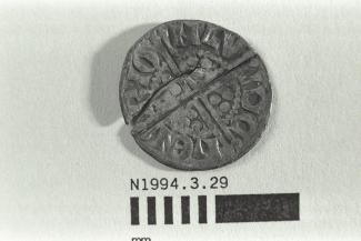 Coin, penny, part of a hoard found at White Lane, Greywell, Mapledurwell and Up Nately, Hampshire in 1989, issued by Henry III, minted by the moneyer Henri in London, 1248-1250