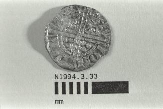 Coin, penny, double struck, part of a hoard found at White Lane, Greywell, Mapledurwell and Up Nately, Hampshire in 1989, issued by Henry III, minted by the moneyer Henri in London, 1251-1272