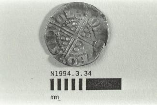 Coin, penny, part of a hoard found at White Lane, Greywell, Mapledurwell and Up Nately, Hampshire in 1989, issued by Henry III, minted by the moneyer Nicole in London, 1248-1250